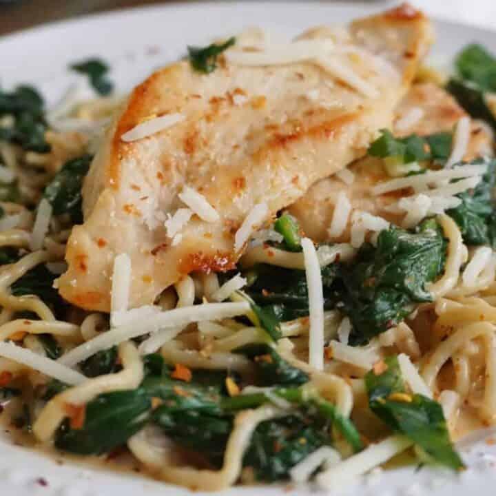 Spinach and Shirataki Noodles