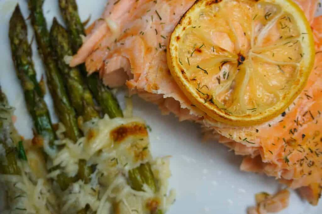 Salmon and Asparagus one pan dinner in twenty minutes