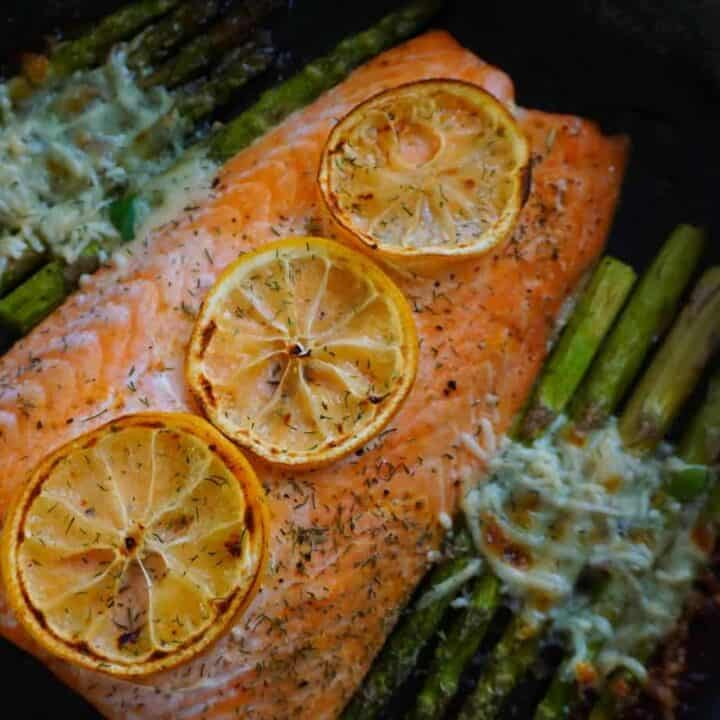 One Pan Salmon and Parmesan Asparagus