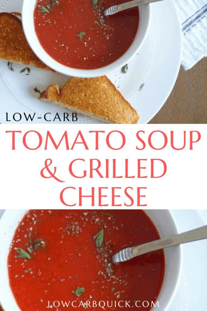 low carb tomato soup with grilled cheese