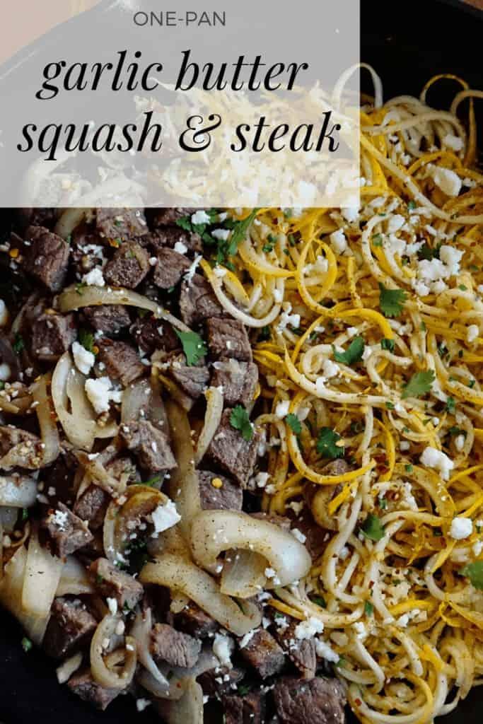 Garlic Butter Squash & Steak, one-pan meal, easy keto dinner