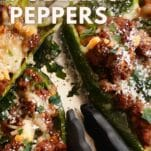 ground beef stuffed poblano peppers with salsa