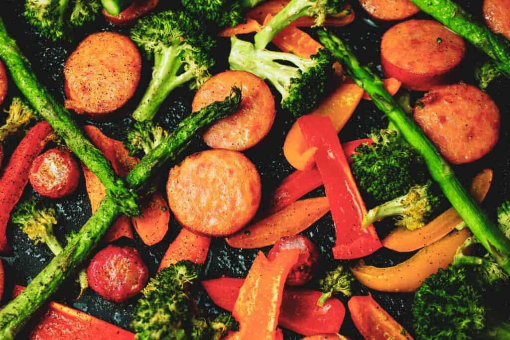 cajun kielbasa and veggies