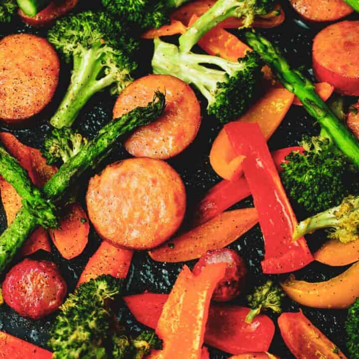 cajun kielbasa and veggies