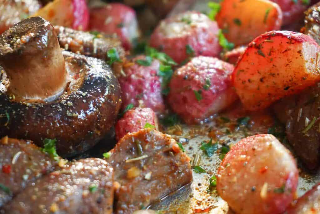 roasted radishes, steak and mushrooms