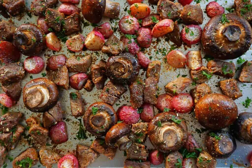 Italian roasted butter steak and radishes