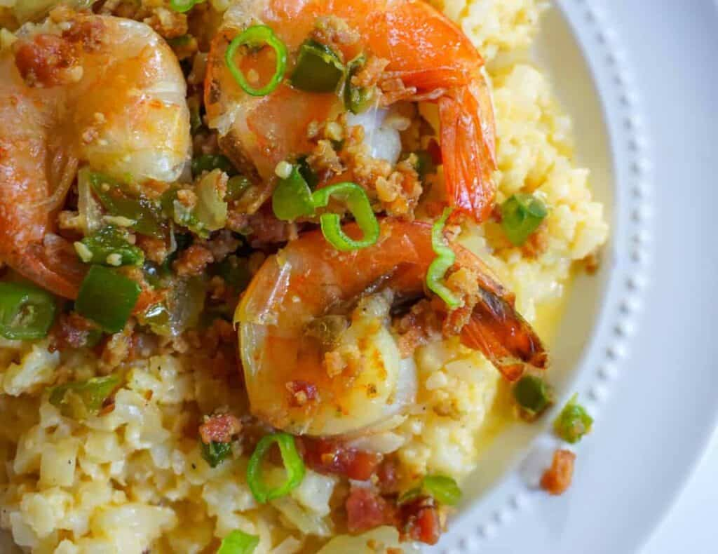 "keto shrimp and ""grits"""