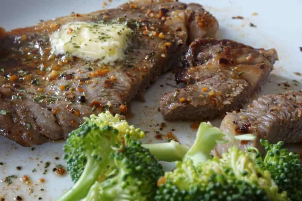 buttery juicy ribeye steak after being cut