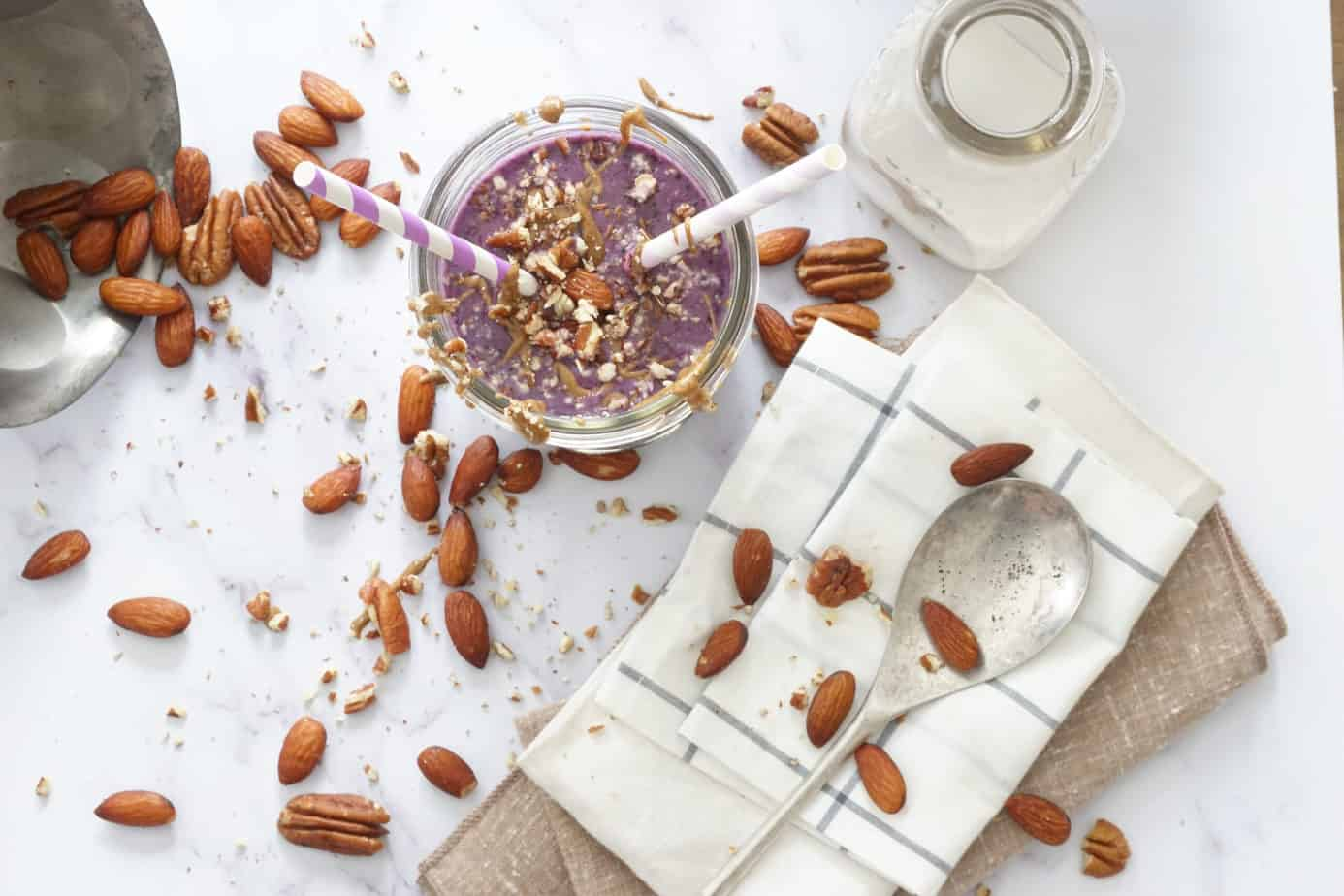 blueberry almond milk smoothie with ingredients