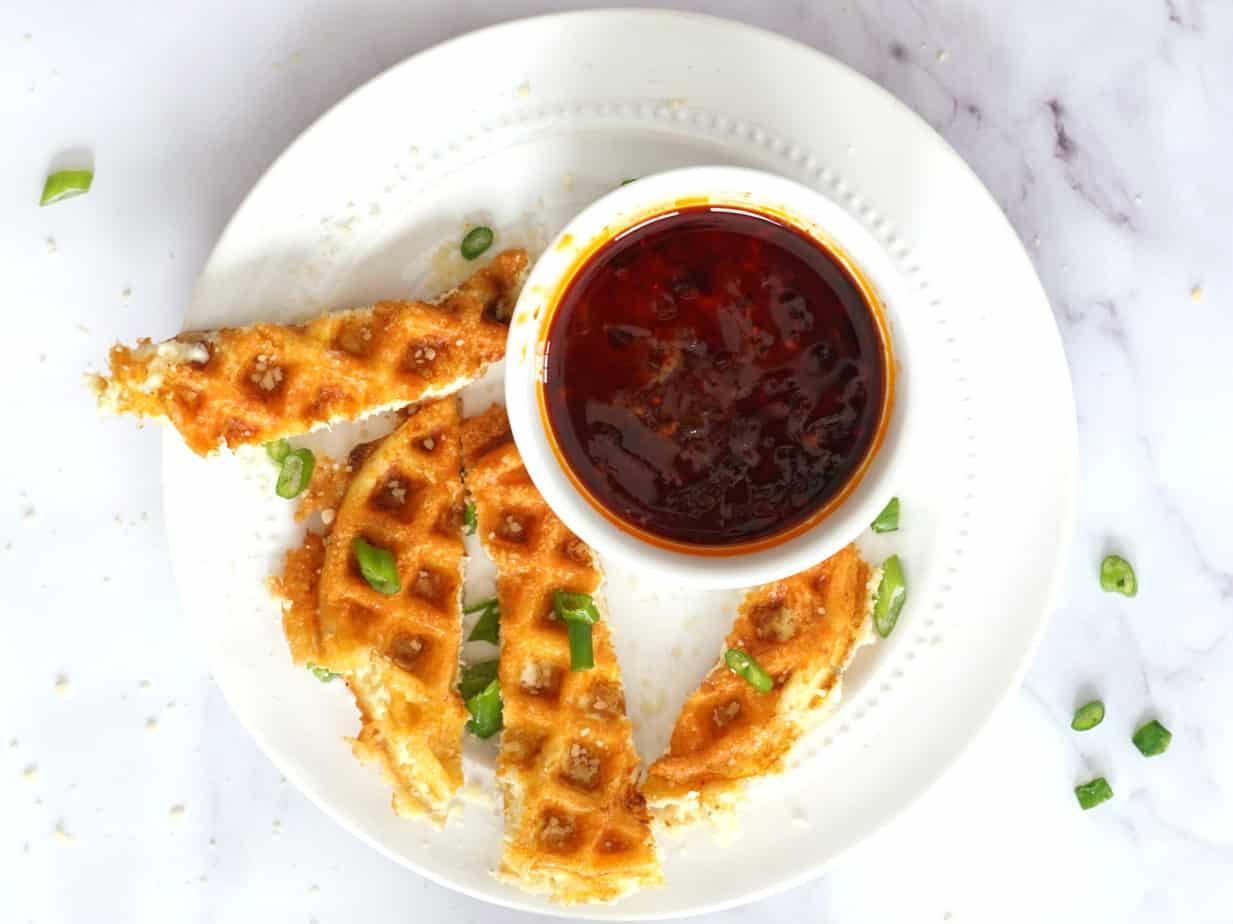 keto crab rangoon chaffle with sweet chili sauce