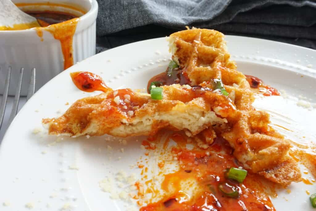 crab rangoon chaffle with sweet chili sauce
