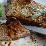 close up of a juicy ribeye steak