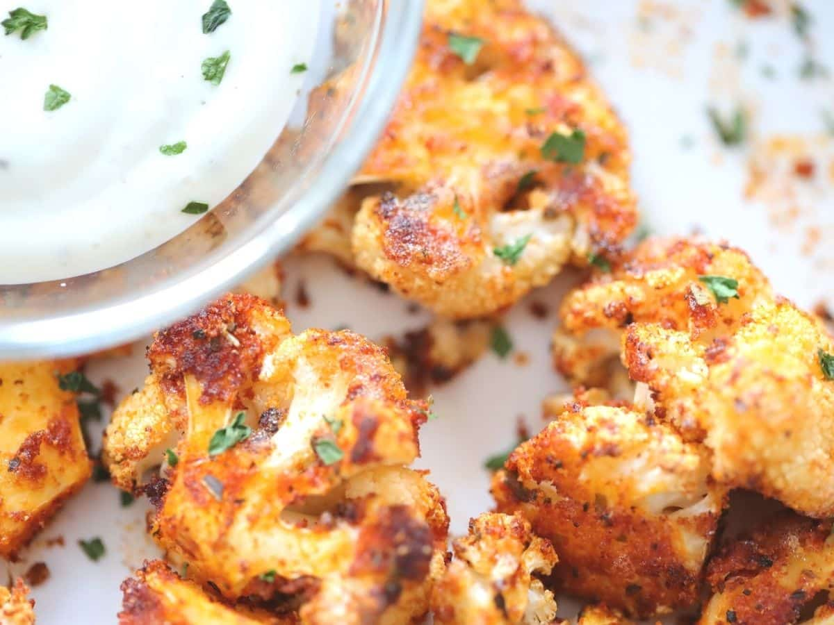 air fried cauliflower with pizza seasoning and ranch