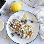blueberry lemon waffles with cream cheese icing