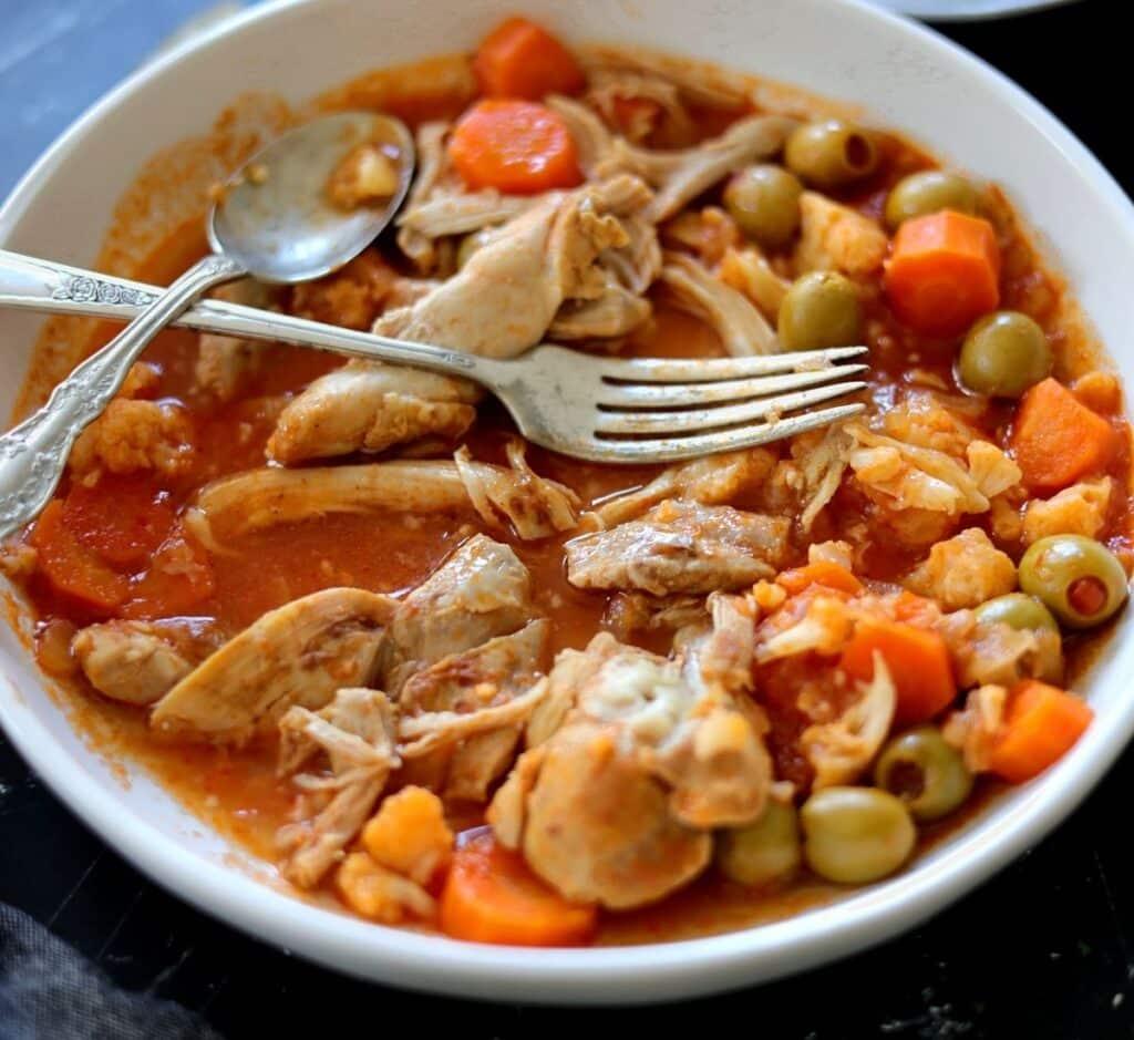 chicken thigh stew with carrots manzanilla olives cauliflower