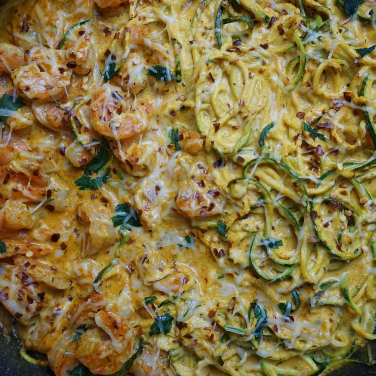 shrimp and zucchini noodles with Mediterranean seasonings