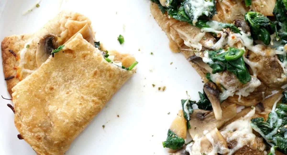 crunchy mushroom spinach quesadilla