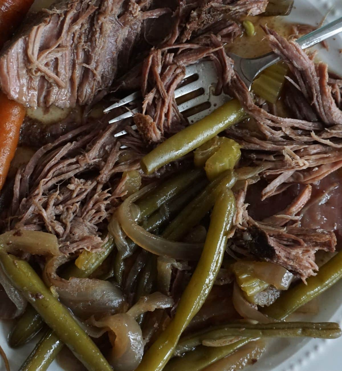 close up of shredded beef stew with green beans and onions