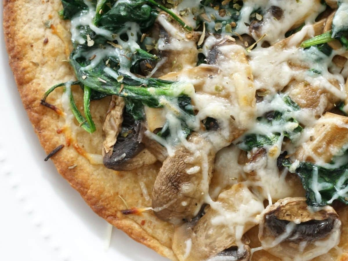 spinach and mushroom with cheeseon low carb tortilla