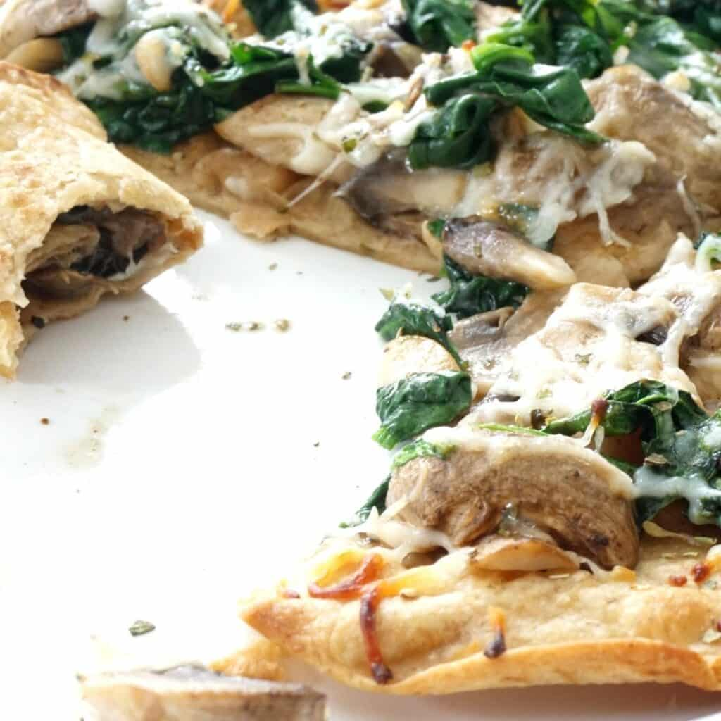 spinach mushroom cheesy quesadilla