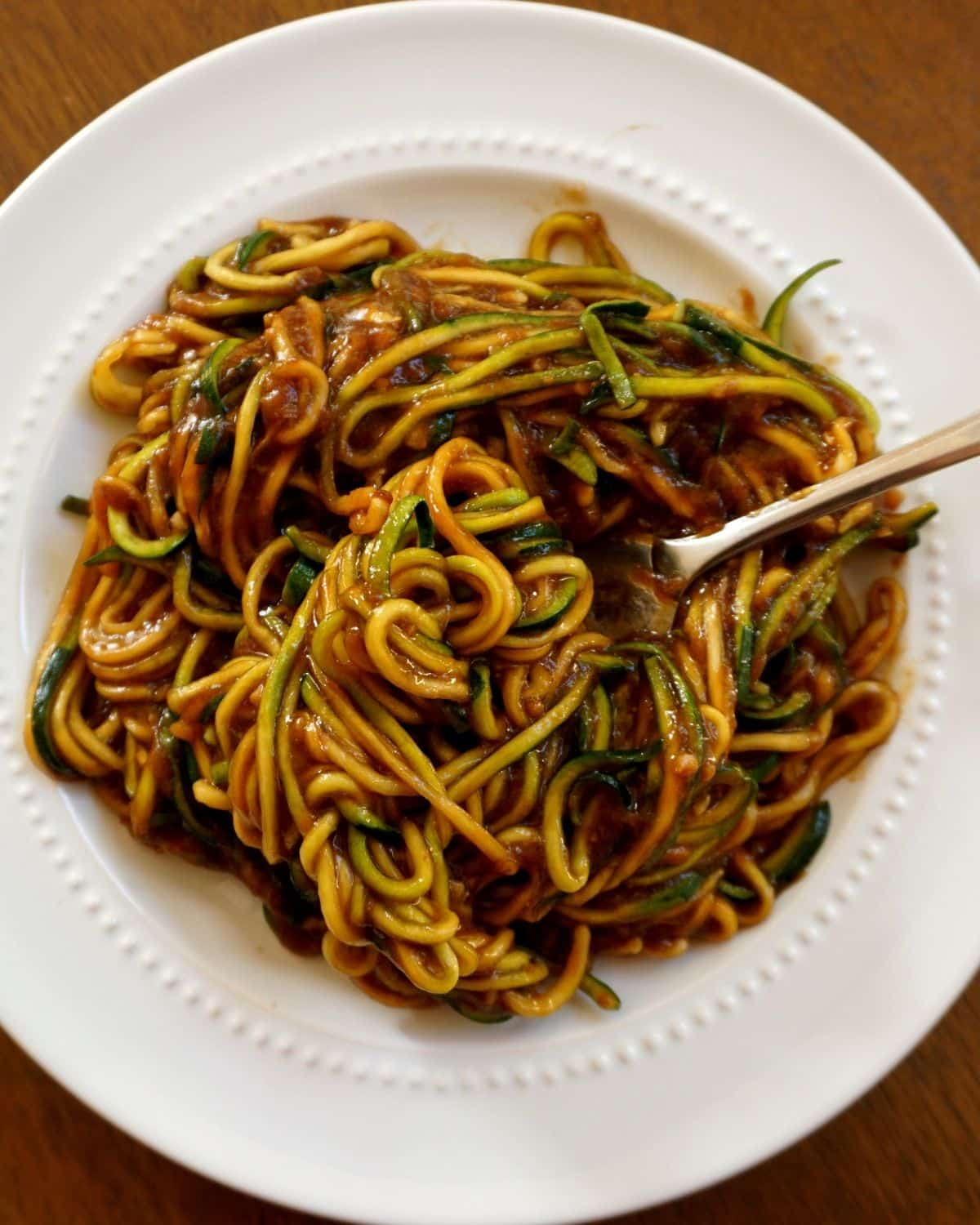 zucchini lo mein noodle spirals with Chinese inspired sauce