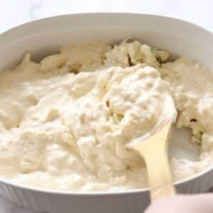 add creamy cheesy crab sauce