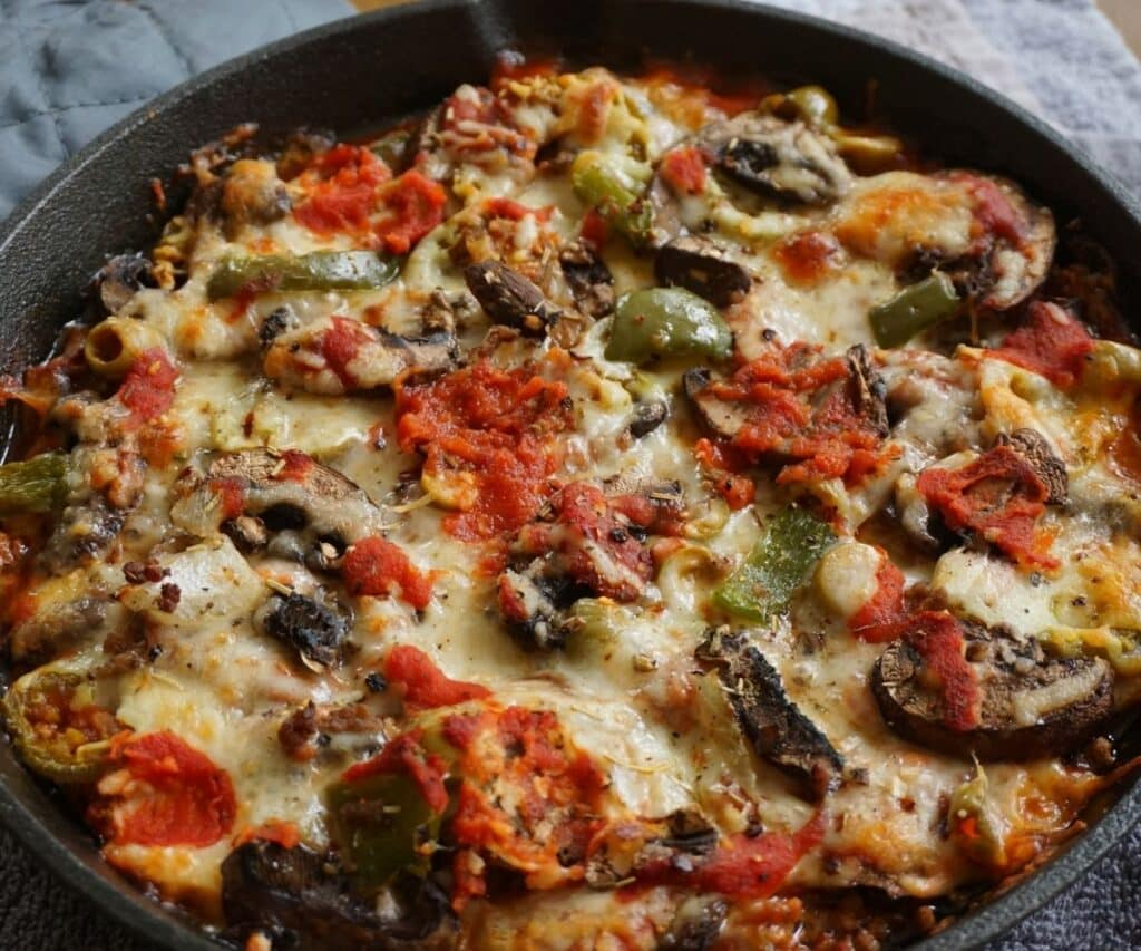 baked crustless keto low carb pizza