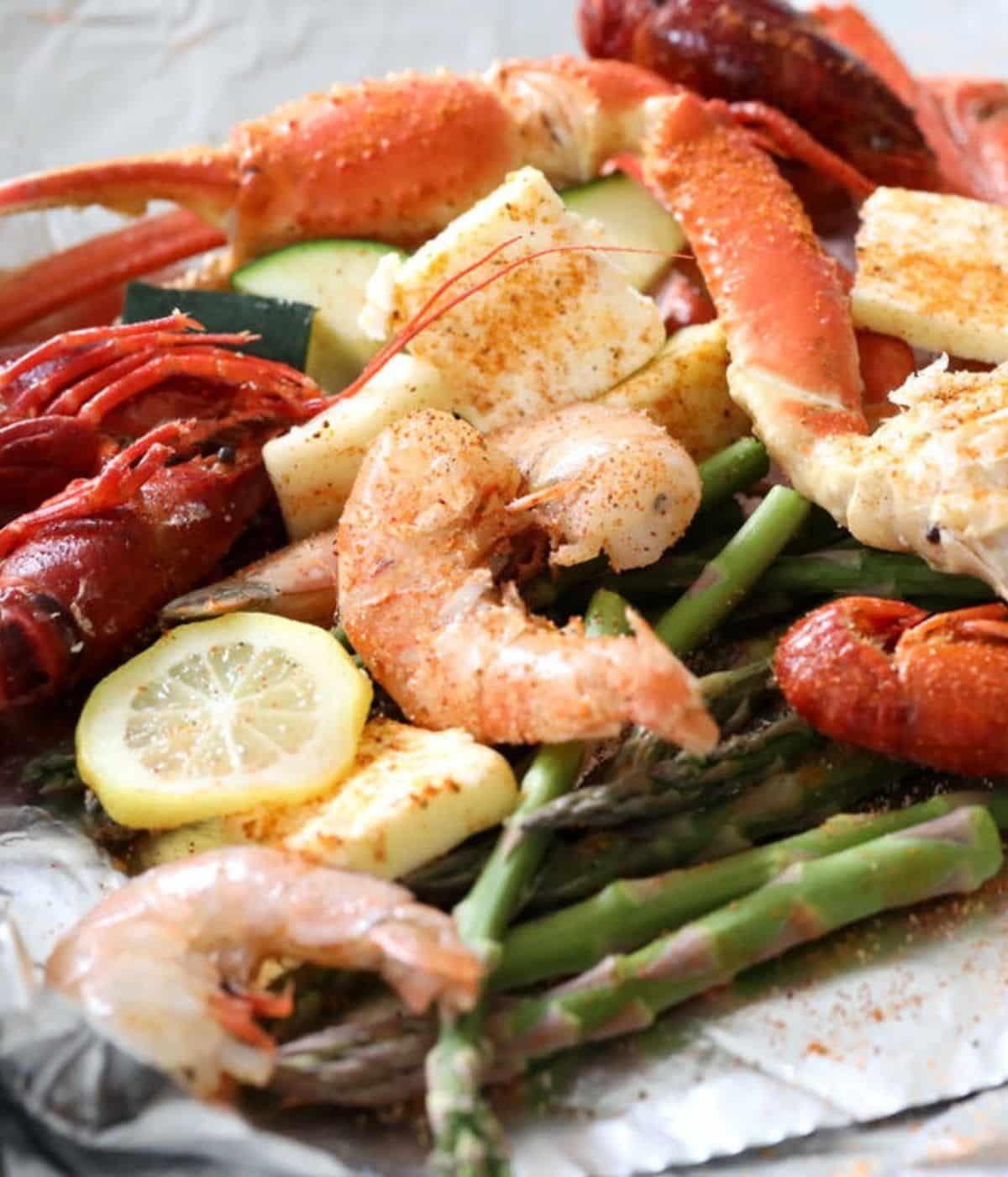 cajun seafood bake with crawfish shrimp lemon