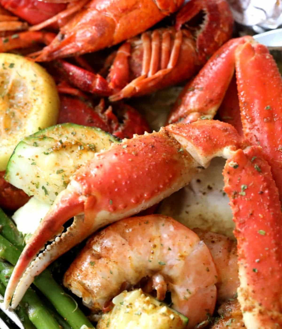 crab claw with shrimp and cajun zucchini squash
