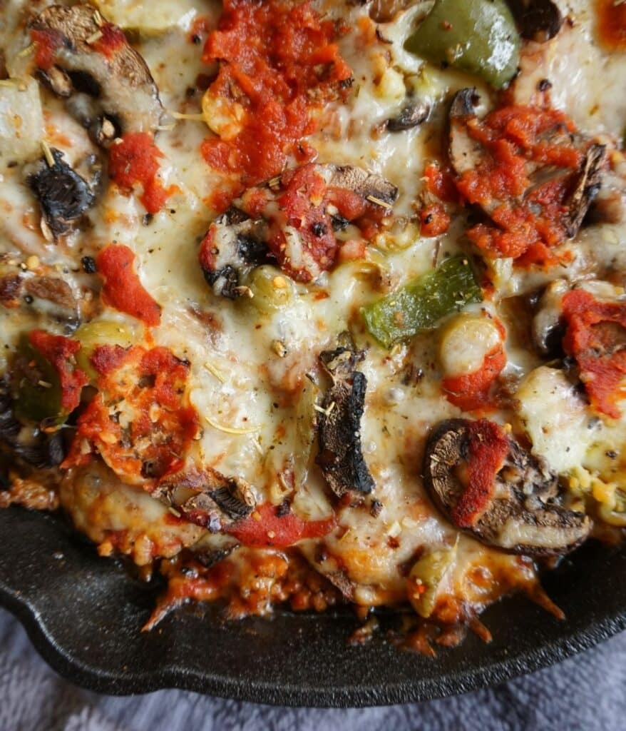 low carb casserole pizza in cast iron skillet