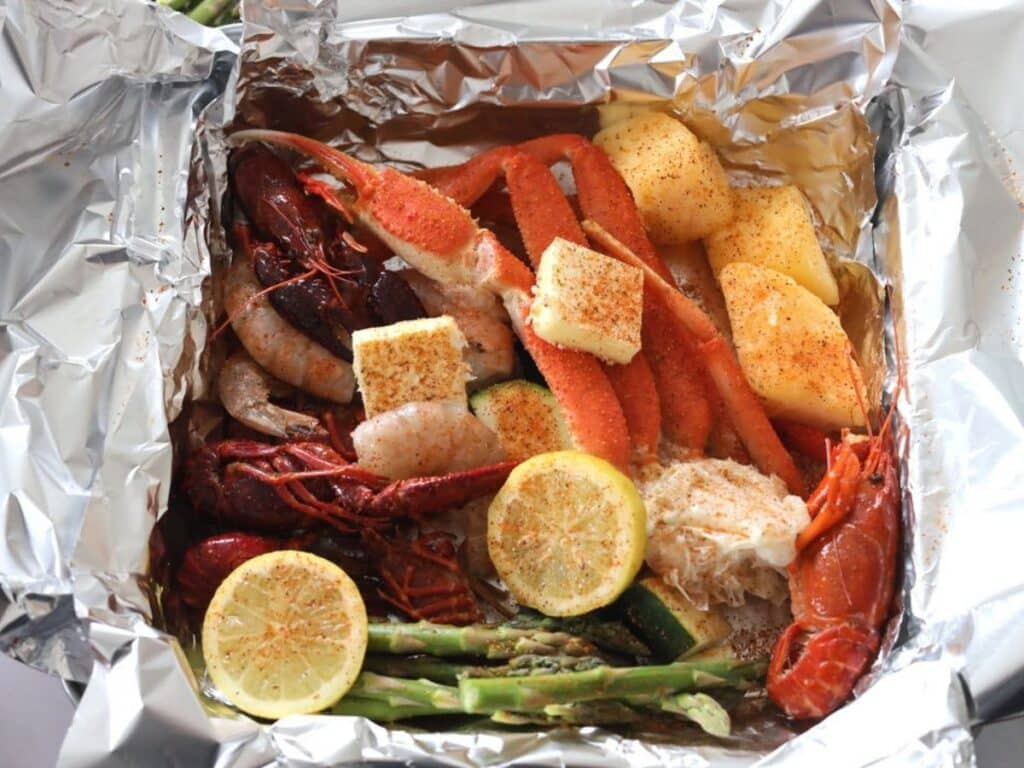 seafood foil pack ready to bake