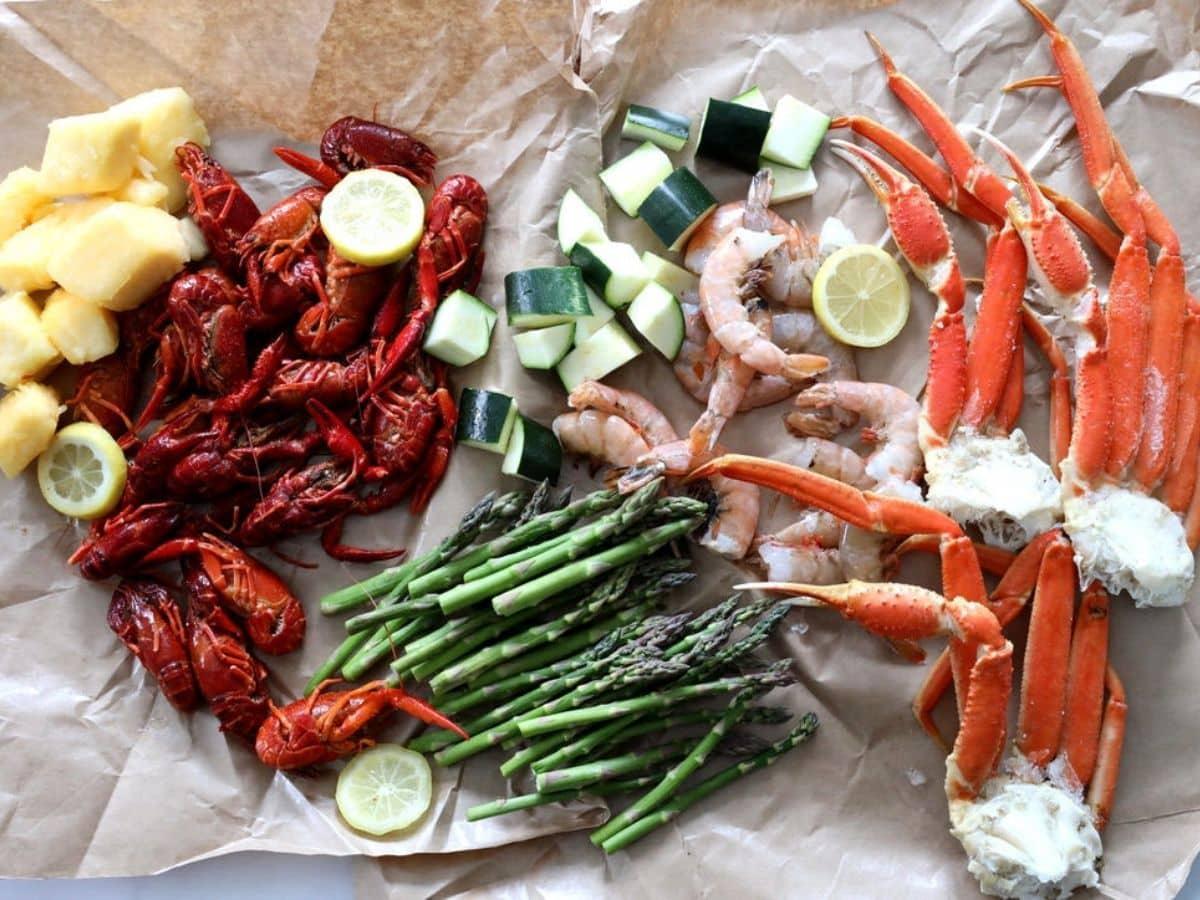 seafood with veggies prep