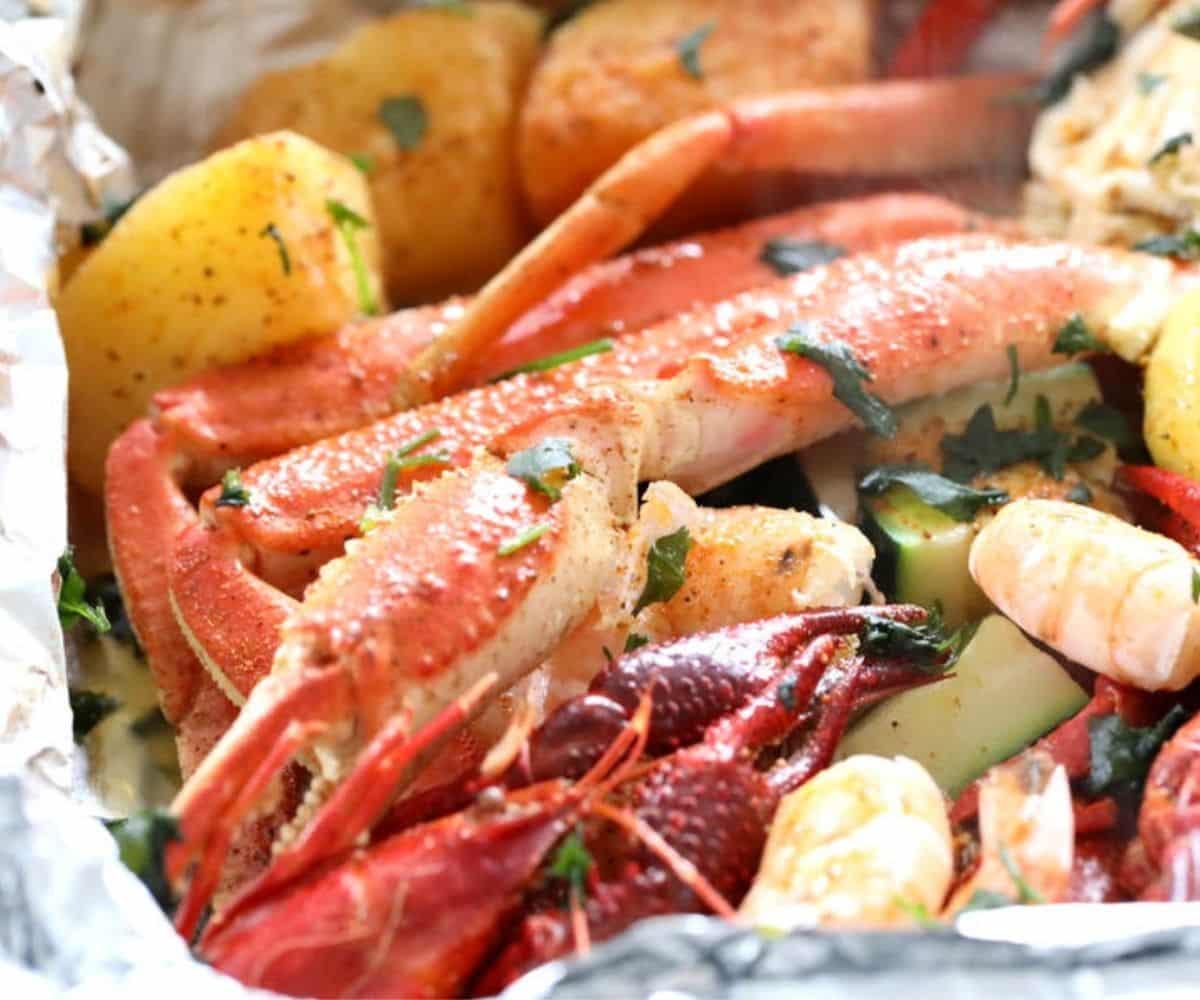 shrimp crab crawfish seafood foil