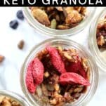 dried strawberry crunch keto granola cereal in storage container
