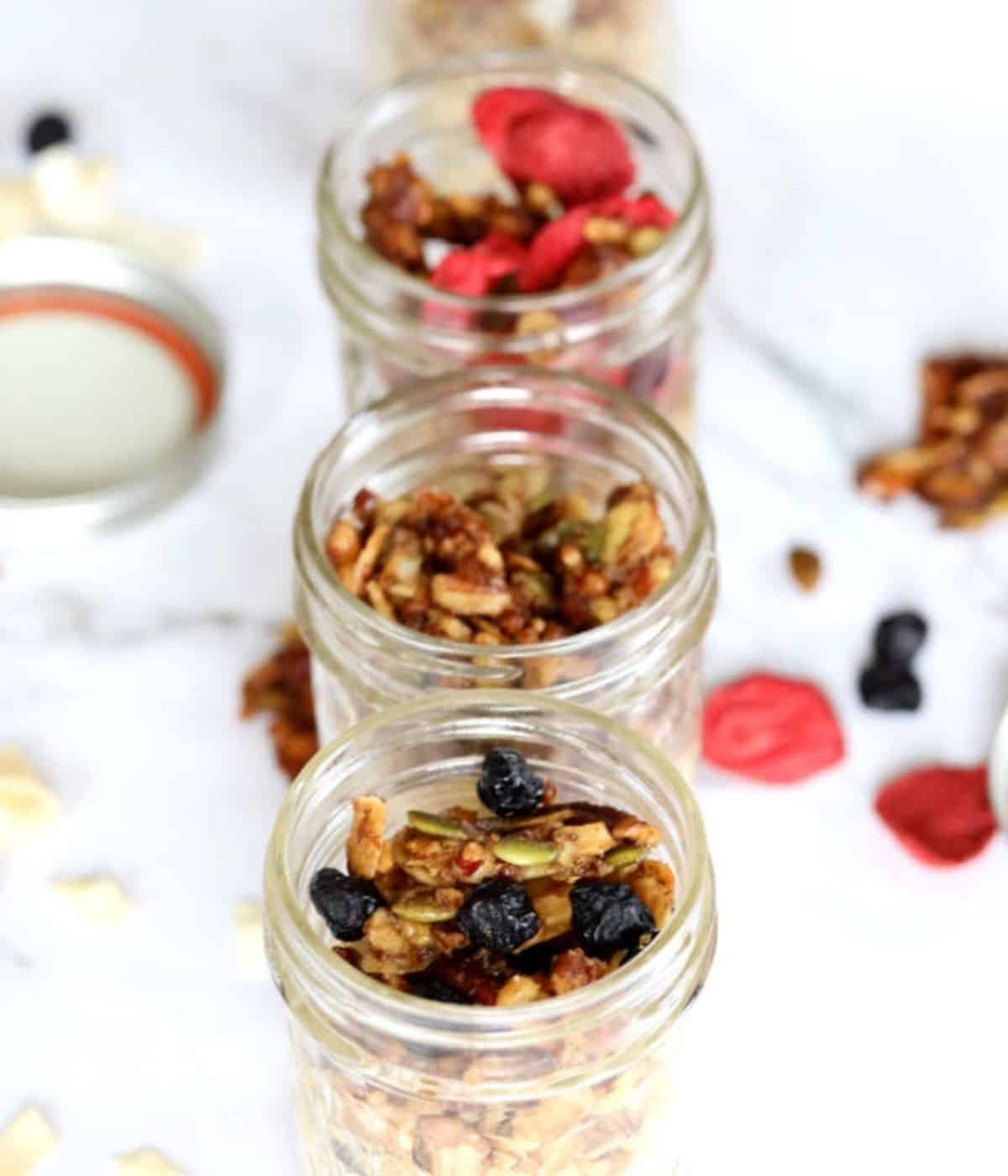 granola stored in mason jars