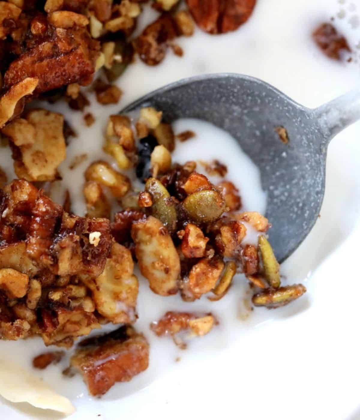 granola with almond milk