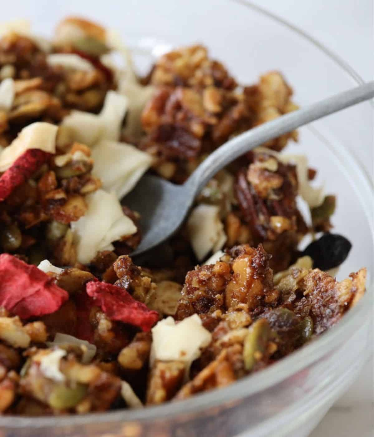 keto granola in a bowl with spoon