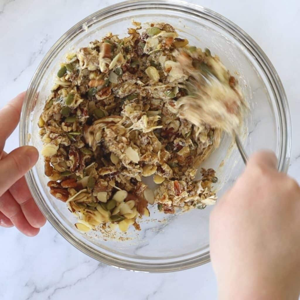 mixing nuts with brown erythritrol