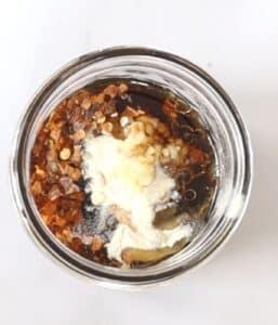 teriyaki ingredients in a mason jar