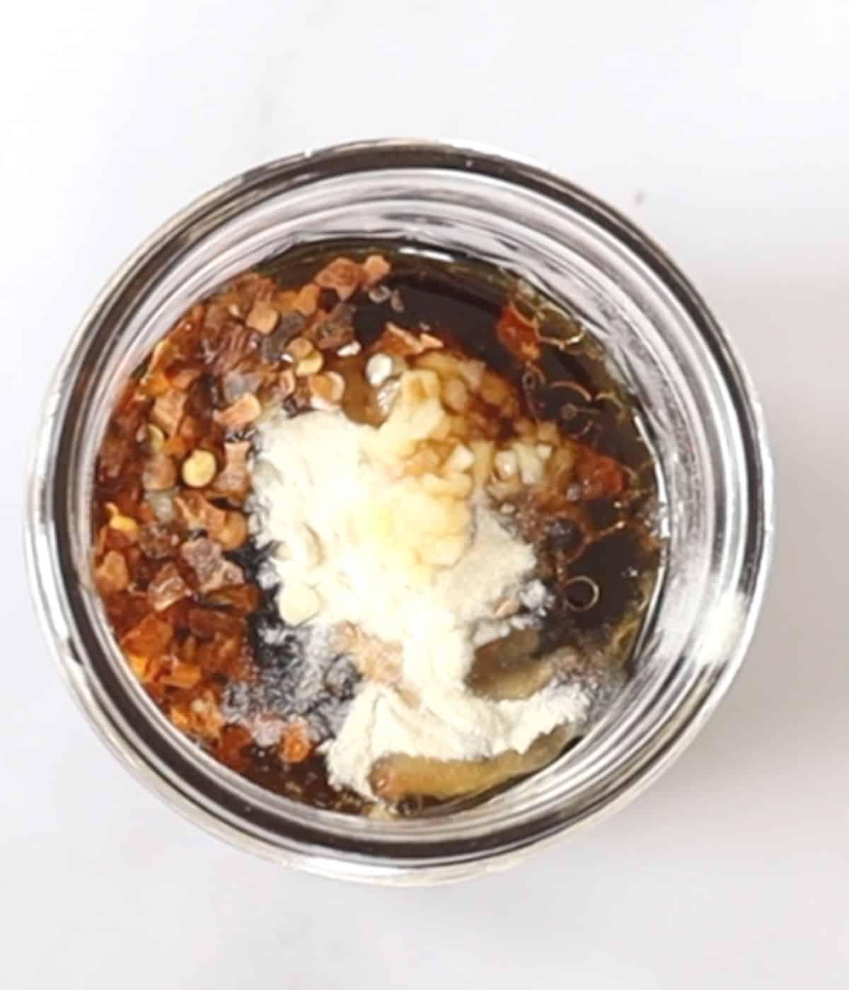 teriyaki ingredients in a glass jar