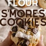 gooey almond flour s'mores cookies with marshmallows