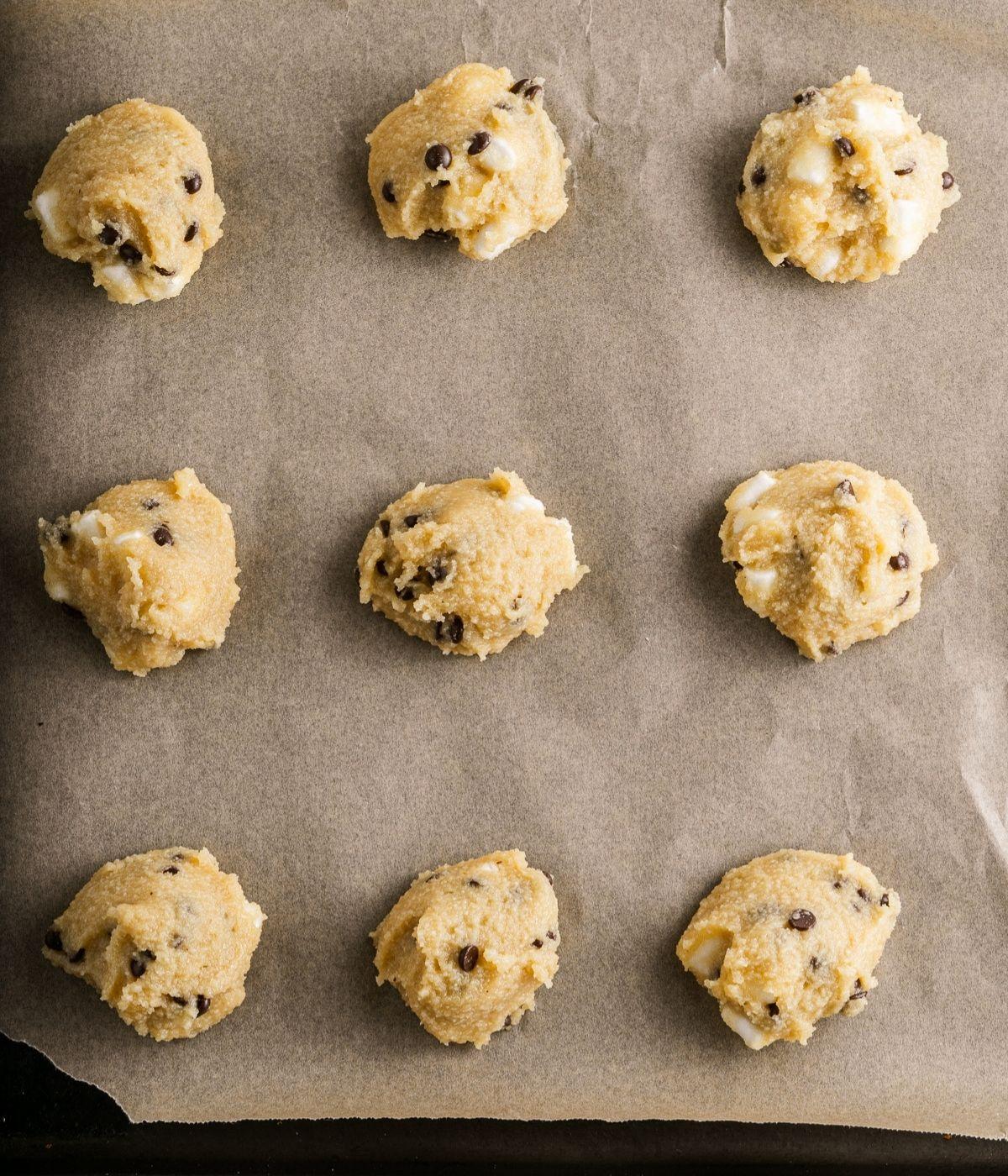 cookie dough on parchment paper