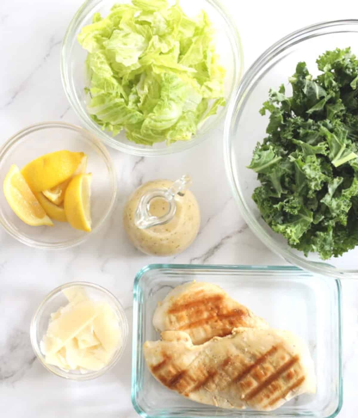 salad ingredients with grilled chicken