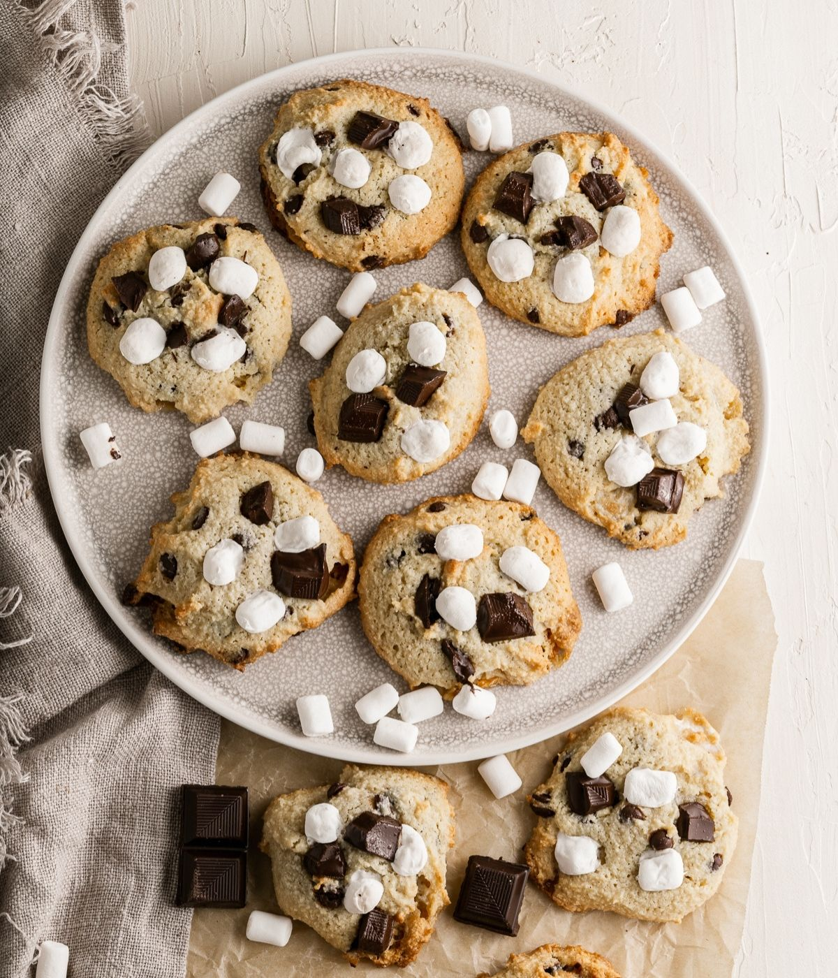 smores cookies made on a plate