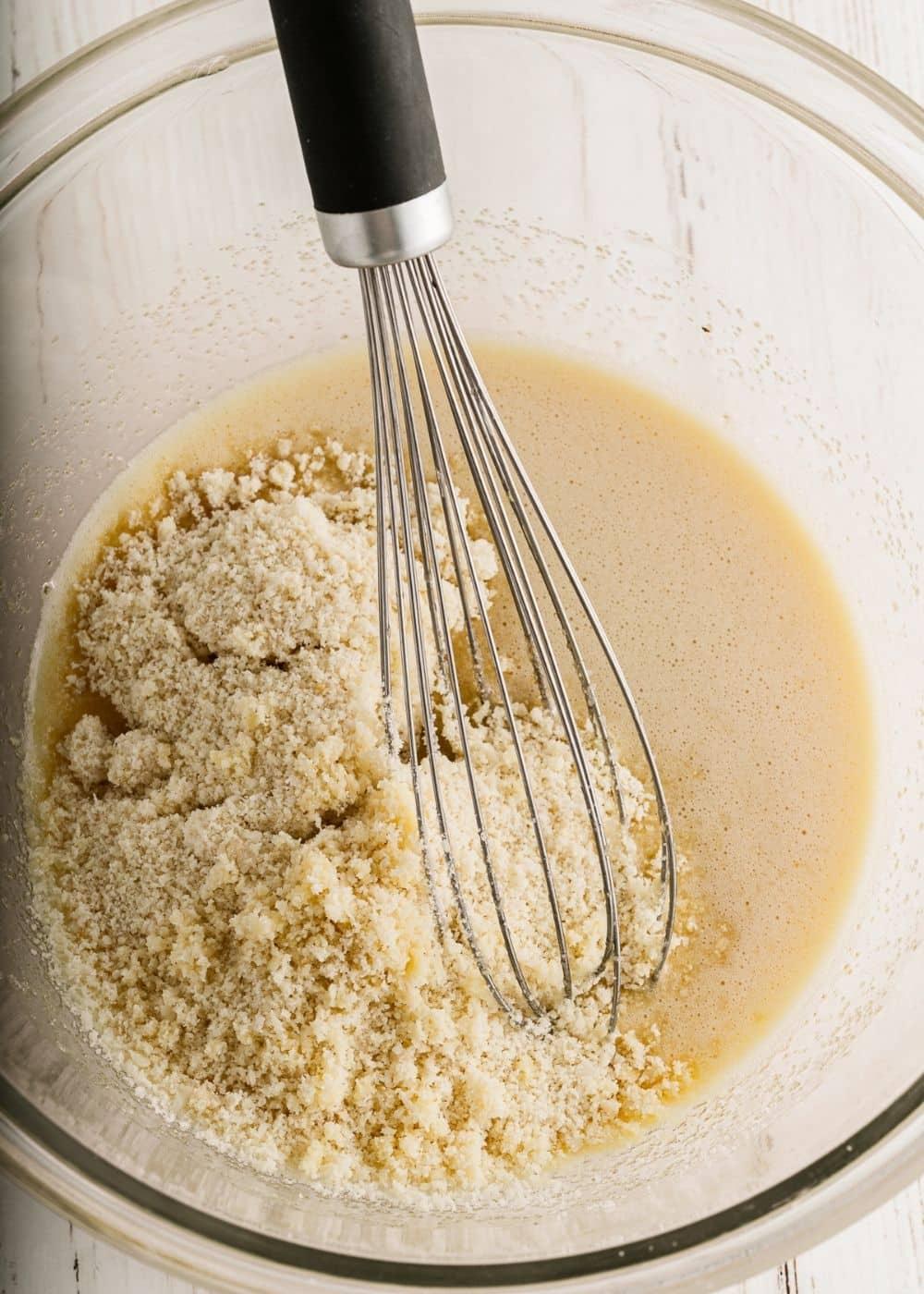 whisking in almond flour