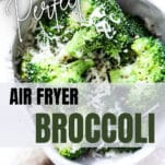 air fryer broccoli in a bowl with shredded cheese on top
