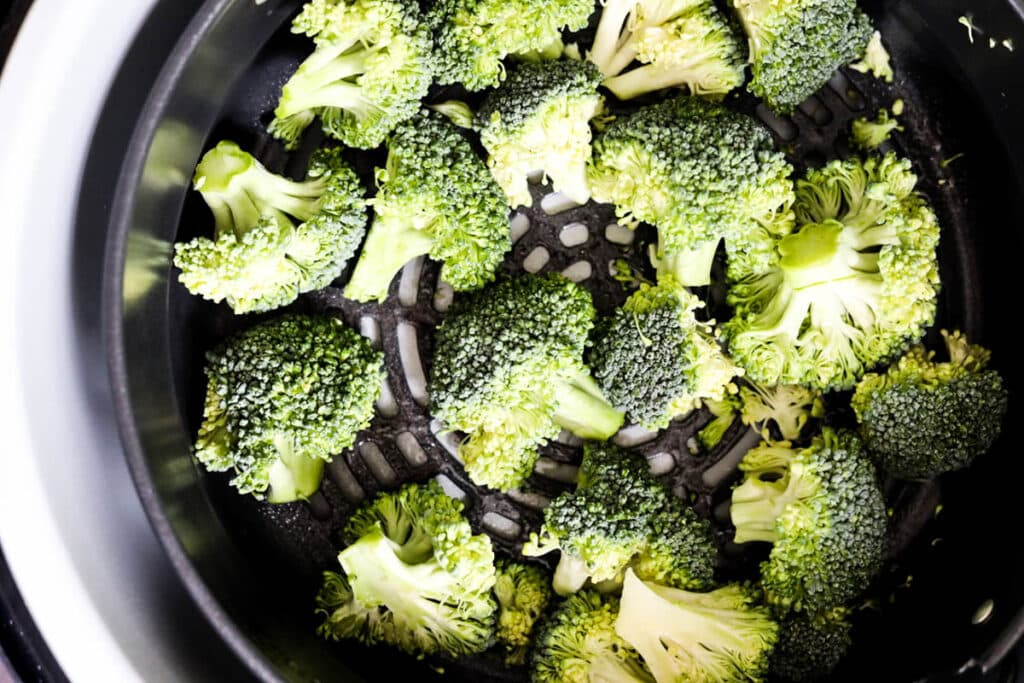 broccoli in the air fryer basket