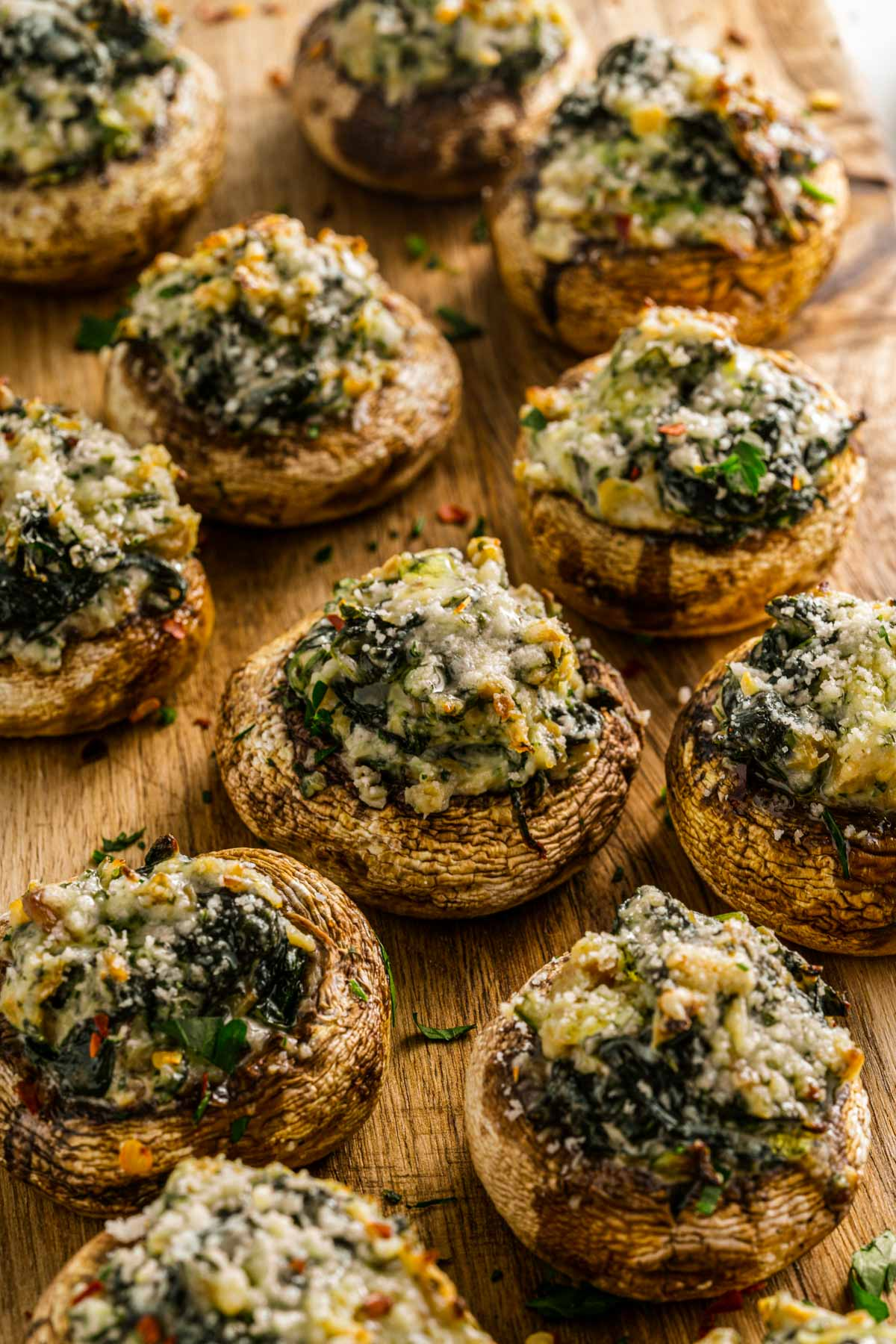 seasoned mushrooms with parsley and spices