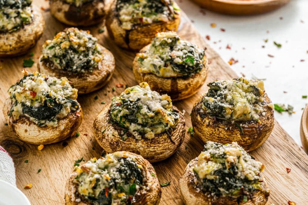 mushrooms seasoned with parsley and parmesan cheese