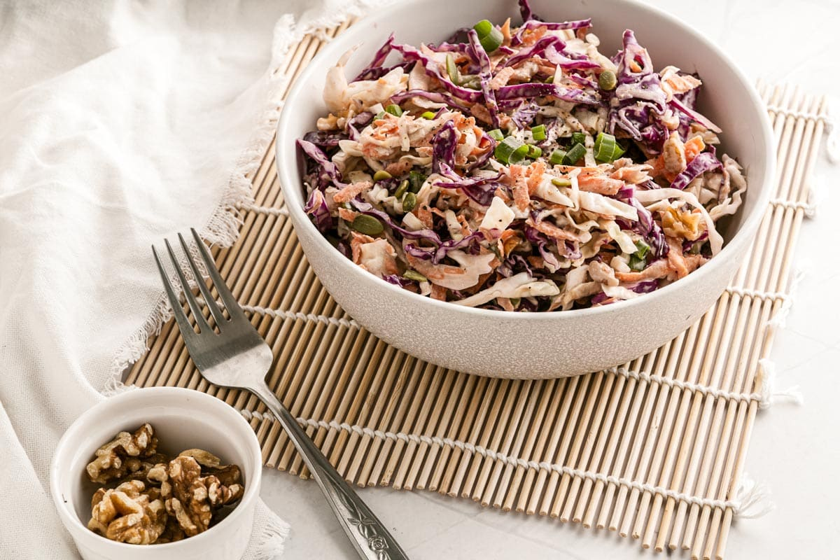 keto coleslaw with seeds and nuts